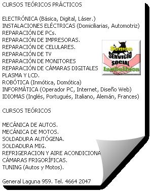PLAN RESCATE para ninis que no quieren serlo:<br /> •Cursos gratuitos<br /> Oficios:<br /> •Electricidad domiciliaria<br /> •Reciclaje:<br /> oCrochet con nylon<br /> oManualidad  con botellas plásticas<br /> •Informática:<br /> oOperador Office<br /> oProgramación<br /> oDiseño Web<br /> •Idiomas:<br /> oIngles<br /> oFrancés<br /> oAlemán<br /> oPortugués<br /> Requisitos:<br /> •Ni estudiar, ni trabajar<br /> •Edades: de 15 a 25<br /> •No tener adicciones, estar en lucha contra ellas<br /> •Comprometerse con el horario (con más de dos inasistencias perdés el puesto).<br /> - La Academia  de Paso de los Toros<br /> General Laguna 959 – tel 4664 2047<br />