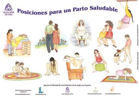 poster de posiciones para un parto saludable